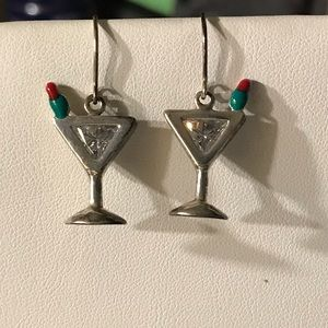 Silpada martini glass earrings Sterling Crystal